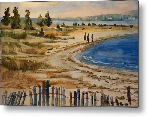 Beach Metal Print featuring the painting A Walk By The Seashore by Siona Koubek