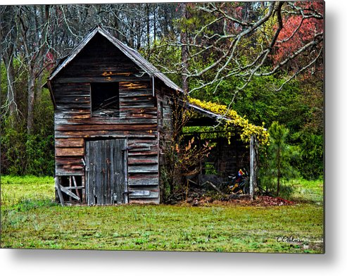 Barn Metal Print featuring the photograph A Yellow Cover by Christopher Holmes