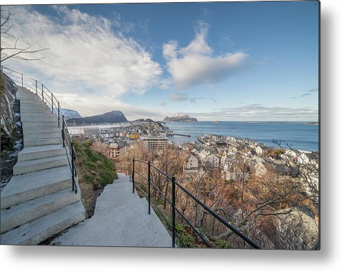 Aalesund Metal Print featuring the photograph Aalesund City by Arild Lilleboe