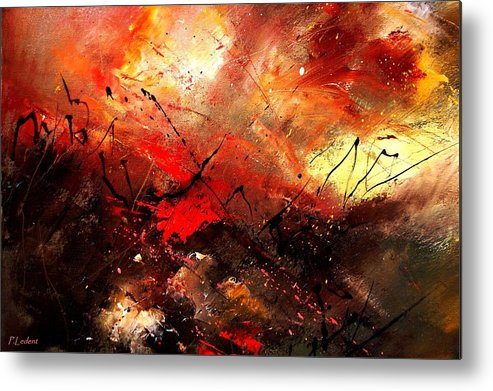 Abstract Metal Print featuring the painting Abstract 100202 by Pol Ledent