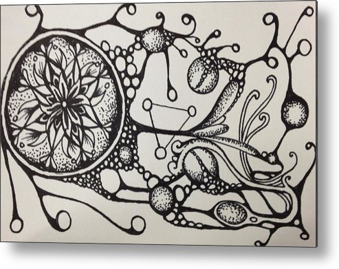 Abstract Metal Print featuring the drawing Abstract Drawing by Kyle Bowen
