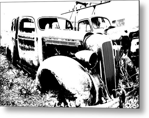 Abstract Metal Print featuring the photograph Abstract High Contrast Old Car by MIke Loudemilk