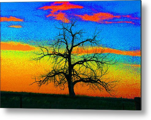 Abstract Metal Print featuring the photograph Abstract Single Tree Strong Colors by Mike Loudermilk
