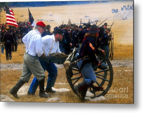 Union Forces Metal Print featuring the painting Action At The Front by David Lee Thompson