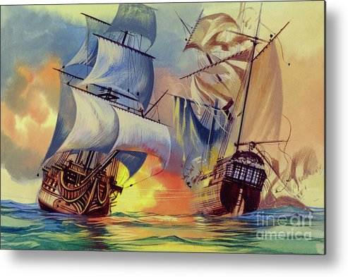 History Metal Print featuring the painting Admiral Hood's Fleet In The West Indies by Ron Embleton