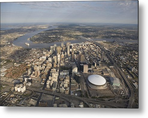 Day Metal Print featuring the photograph Aerial Of New Orleans Looking East by Tyrone Turner