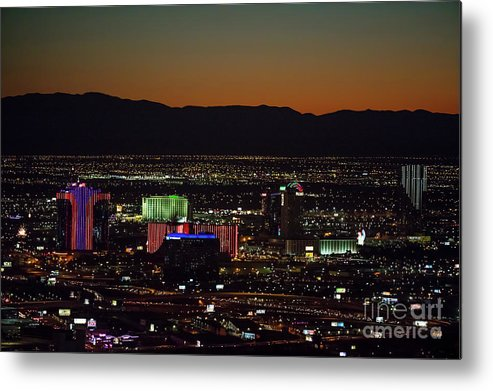 Las Vegas Metal Print featuring the photograph Aerial View Of Las Vegas City by Sv