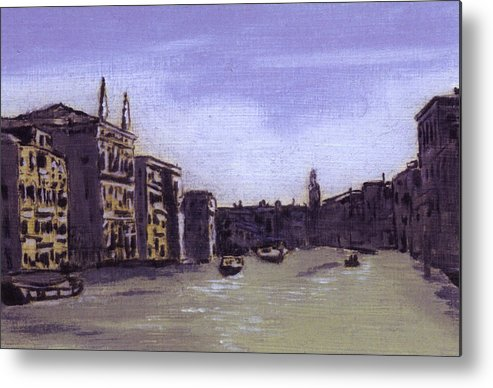 Landscape Metal Print featuring the painting After The Grand Canal From Campo San Vio Near The Rialto Bridge by Hyper - Canaletto