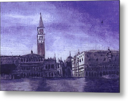 Landscape Metal Print featuring the painting After The Pier At San Marco by Hyper - Canaletto