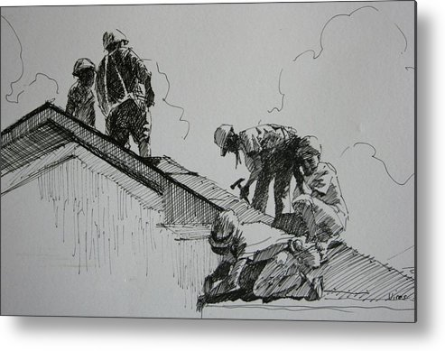Pen And Ink Metal Print featuring the drawing After The Storm by Michael Vires