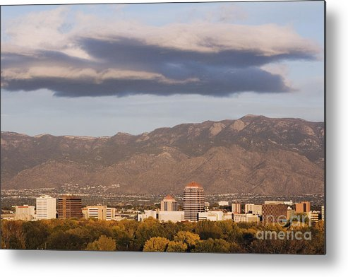 Albuquerque Metal Print featuring the photograph Albuquerque Skyline With The Sandia Mountains In The Background by Jeremy Woodhouse