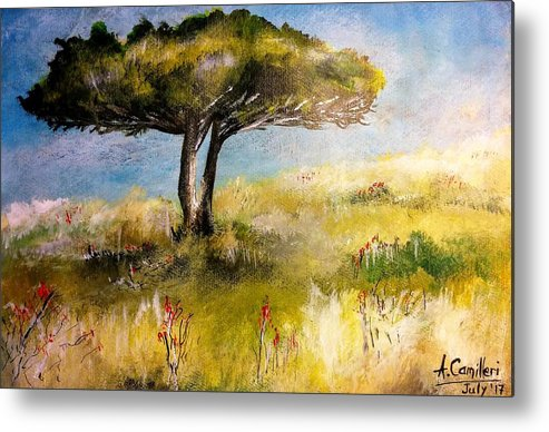 Metal Print featuring the painting Alone by Anthony Camilleri