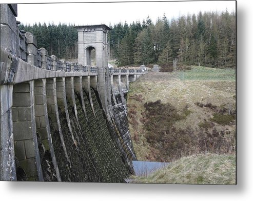 Dams Metal Print featuring the photograph Alwen Reservoir Dam by Christopher Rowlands
