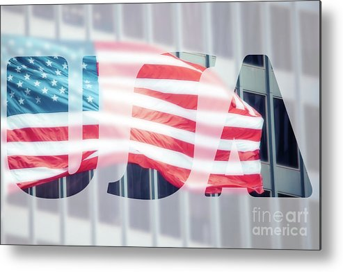 Flag Metal Print featuring the photograph American Flag In Front Of Business Building by Mariusz Prusaczyk
