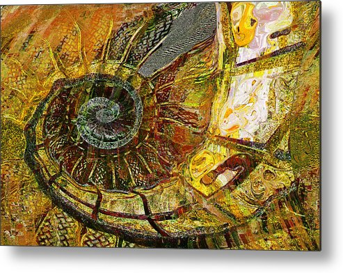 Ammonite Metal Print featuring the painting Ammonite by Anne Weirich