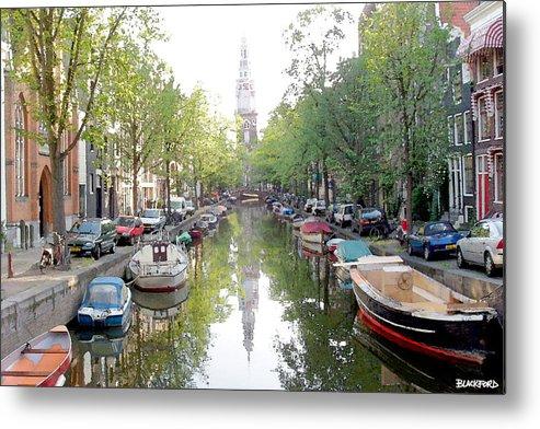 Amsterdam Metal Print featuring the digital art Amsterdam Canal by Al Blackford