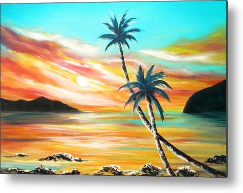 Sunset Metal Print featuring the painting Another Sunset In Paradise by Gina De Gorna