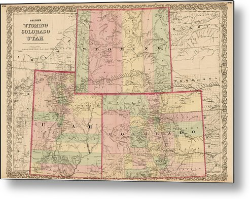 Antique Map - Colton\'s Wyoming Colorado And Utah 1876 Metal Print