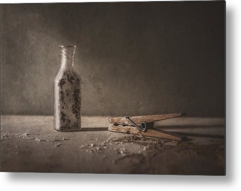 Scott Norris Photography Metal Print featuring the photograph Apothecary Bottle And Clothes Pin by Scott Norris