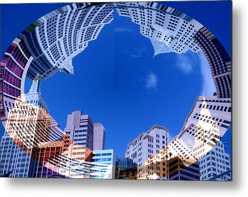 New York City Sky Line Las Vegas Sky Scrapers Clouds Buildings Metal Print featuring the photograph Around New York by Andrea Lawrence