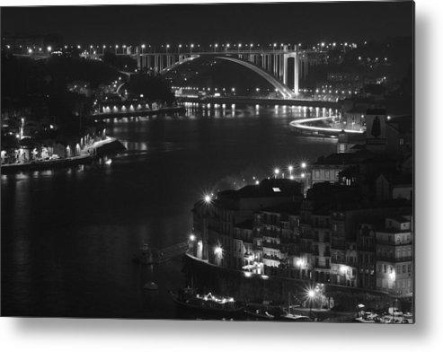 Porto Metal Print featuring the photograph Arrabida Bridge By Night by Borys Szefczyk
