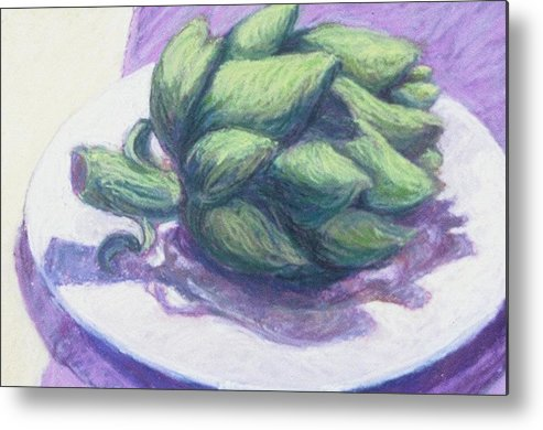 Still Life Metal Print featuring the painting Artichoke On A White Plate by Dolores Holt