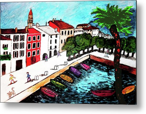 Buildings Metal Print featuring the drawing Ascona Imaginario by Monica Engeler