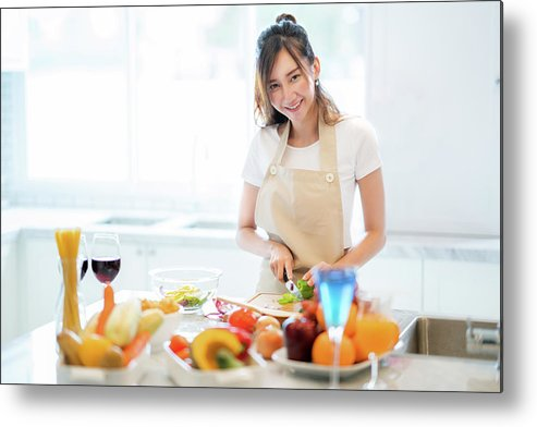 Kitchen Metal Print featuring the photograph Asian Wife Prepare Salad And Spaghetti by Anek Suwannaphoom