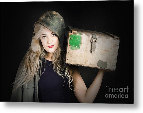 Blond Metal Print featuring the photograph Attractive Pinup Girl. Blond Bombshell by Jorgo Photography - Wall Art Gallery