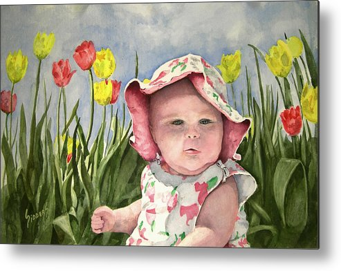 Kids Metal Print featuring the painting Audrey by Sam Sidders