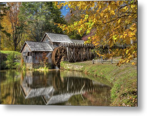 Blue Ridge Mountains Metal Print featuring the photograph Autumn At Mabry Mill by Tom Weisbrook