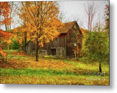 Autumn Metal Print featuring the painting Autumn Catskill Barn by Deborah Benoit