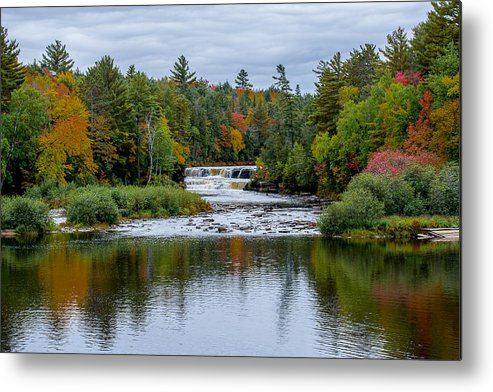 Water Metal Print featuring the photograph Autumn Falls by Randy Gebhardt