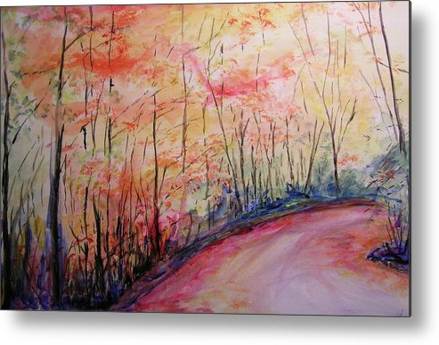 Landsape Metal Print featuring the painting Autumn Lane II by Lizzy Forrester