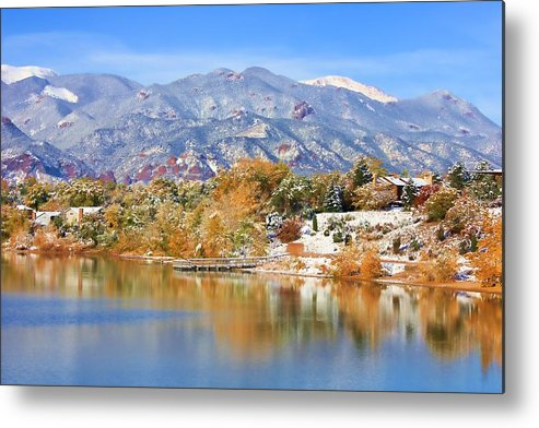 Landscape Metal Print featuring the photograph Autumn Snow At The Lake by Diane Alexander