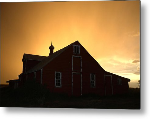 Barn Metal Print featuring the photograph Barn At Sunset by Jerry McElroy