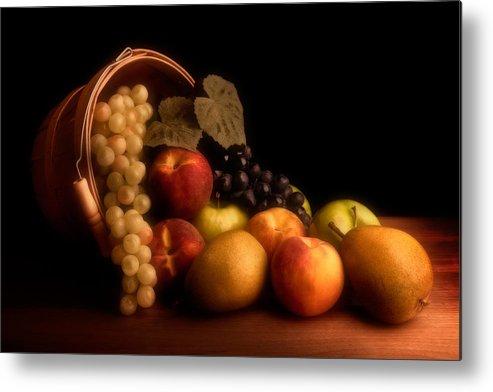 Fruit Metal Print featuring the photograph Basket Of Fruit by Tom Mc Nemar