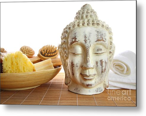 Accessory Metal Print featuring the photograph Bath Accessories With Buddha Statue by Sandra Cunningham