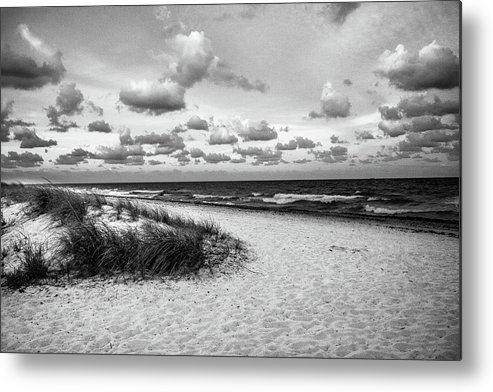 Sunset Metal Print featuring the photograph Beach Sunset Bw by Frank Molina