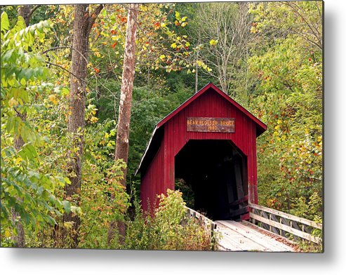 Covered Bridge Metal Print featuring the photograph Bean Blossom Bridge II by Margie Wildblood
