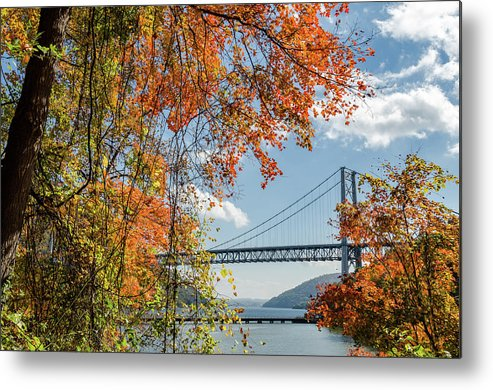 Bridge Metal Print featuring the photograph Bear Mountain Bridge Fall Color by Chris Augliera