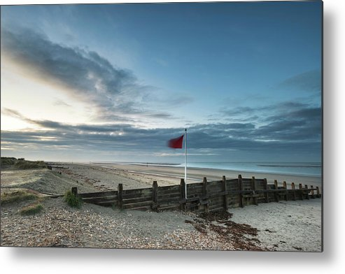 Landscape Metal Print featuring the photograph Beautiful Beach Coastal Low Tide Landscape Image At Sunrise With by Matthew Gibson