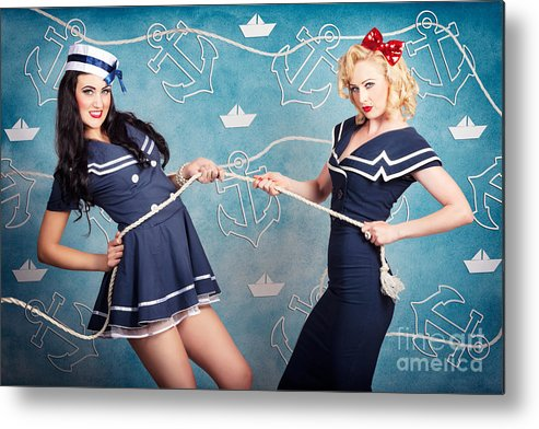 Anchors Metal Print featuring the photograph Beautiful Navy Pinup Girls On Marine Background by Jorgo Photography - Wall Art Gallery