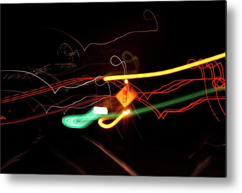 Abstract Metal Print featuring the photograph Behind The Lights by Keela Mimbs