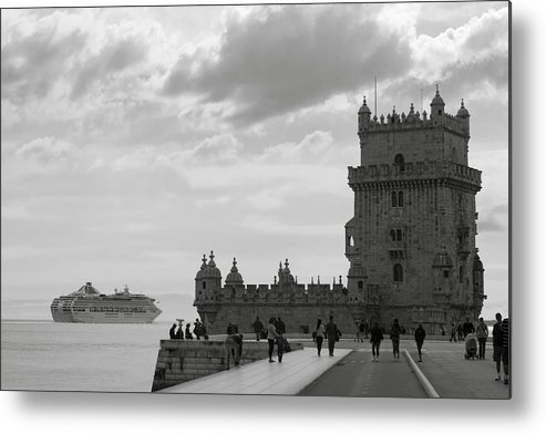 Lisbon Metal Print featuring the photograph Belem And The Boat by Lorraine Devon Wilke