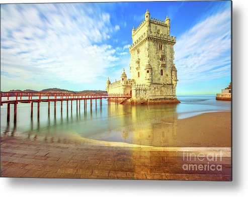 Lisbon Metal Print featuring the photograph Belem Tower Reflects by Benny Marty