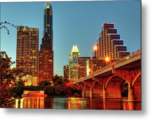 Horizontal Metal Print featuring the photograph Below Congress Avenue Bridge by David Hensley