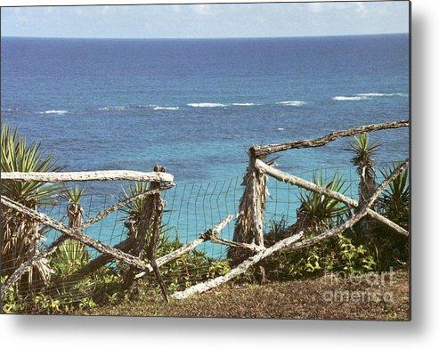 Bermuda Metal Print featuring the photograph Bermuda Fence And Ocean Overlook by Heather Kirk