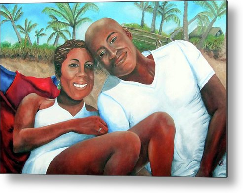 Portrait Metal Print featuring the painting Best Wishes by Alima Newton