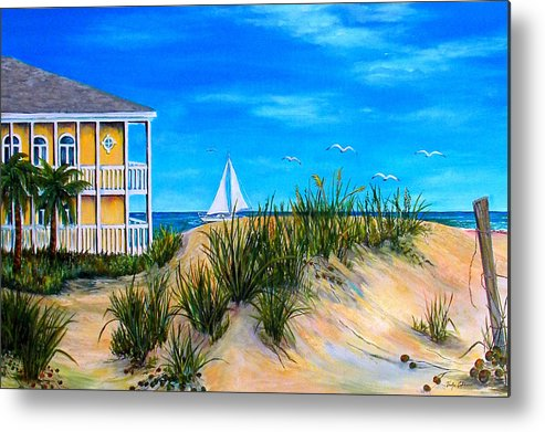 Beach House Metal Print featuring the painting Beyond The Dunes by Trisha Calabrese